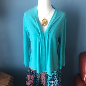 Frank Lyman turquoise open cardigan made in Canada
